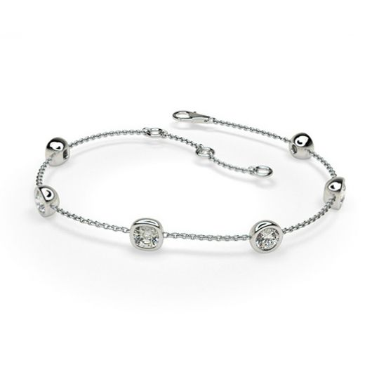 1.25ct. Full Bezel Setting Round & Cushion Diamond Delicate Bracelet