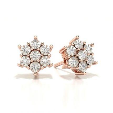 Prong Setting Round Diamond Cluster Earrings