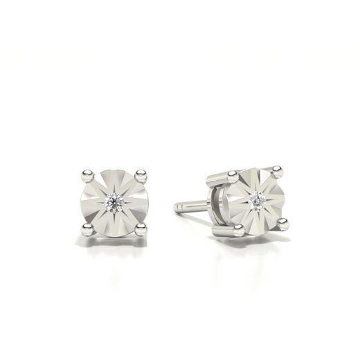 Prong Setting Round Diamond Stud Earring