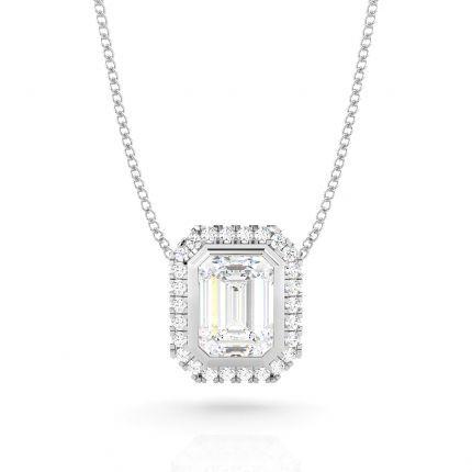 Bezel Setting Diamond Halo Pendant