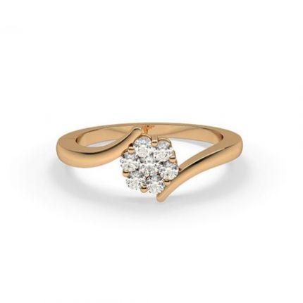 Pressure Setting Round Diamond Cluster Ring