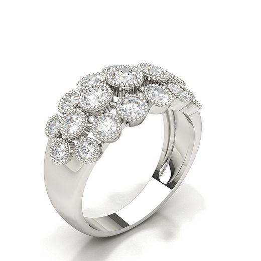 Pave Setting Diamond Round Fashion Ring