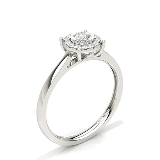 Miracle Plate Setting Diamond Halo Engagement Ring