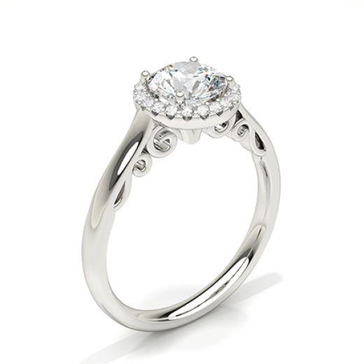 Prong Setting Side Stone Halo Engagement Ring