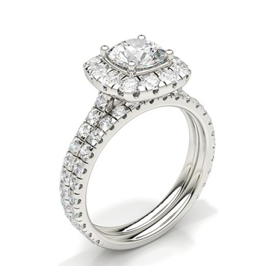 White Gold Round Bridal Set Engagement Ring