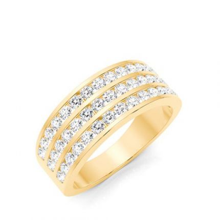 Channel Setting Round Diamond Mens Ring